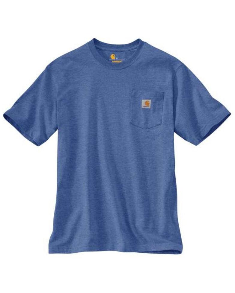 Carhartt Men's Dusk Blue Heather Pocket Short Sleeve Work T-Shirt - Tall , Heather Blue, hi-res