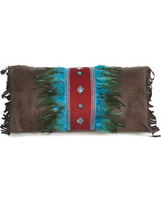 Carstens Turquoise Feather and Diamonds Pillow, Turquoise, hi-res