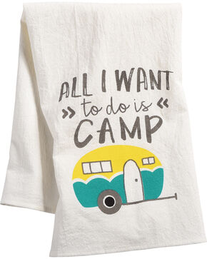 BB Ranch Want To Camp Tea Towel, Teal, hi-res