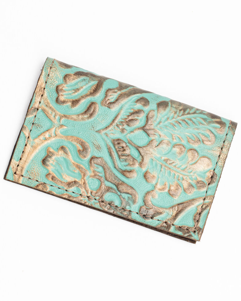Keep It Gypsy Women's Turquoise Paisley Credit Card Holder, Turquoise, hi-res
