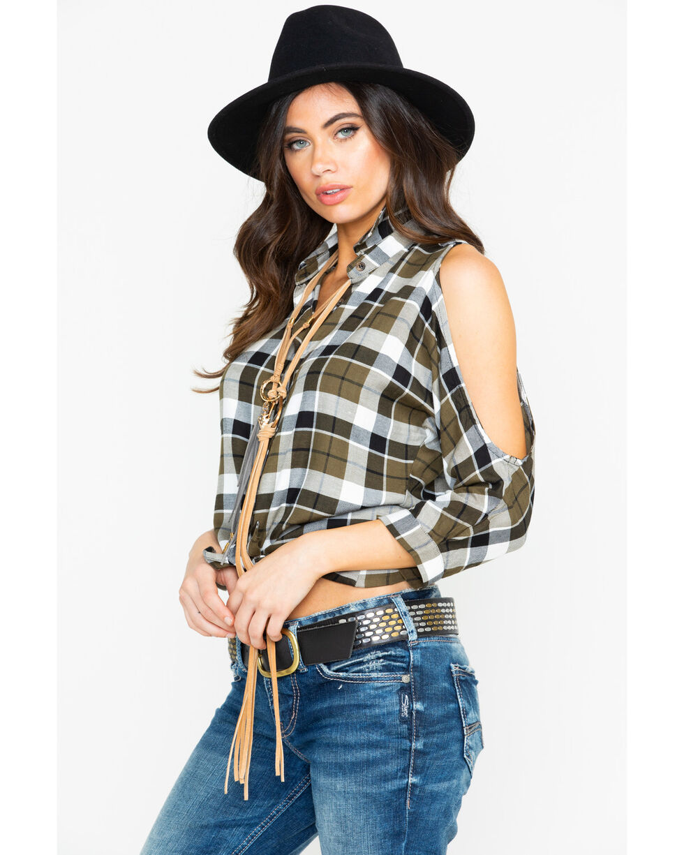 Shyanne Women's Plaid Cold Shoulder Button Top , Olive, hi-res