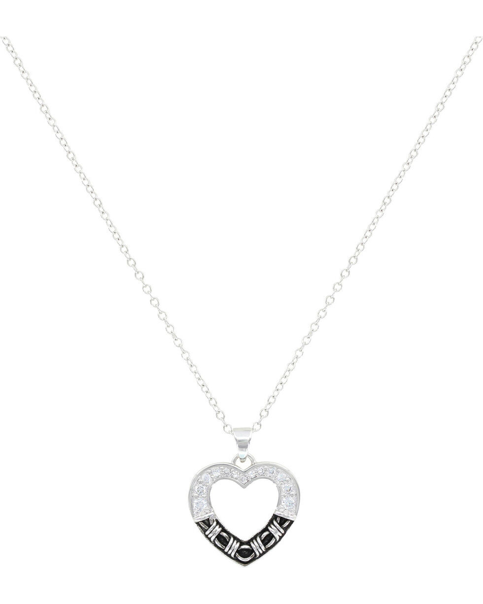 Montana Silversmiths Dazzling Barbed Wire Heart Necklace, Silver, hi-res