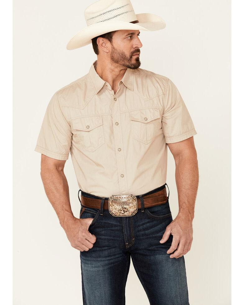 Cody James Men's Off The Grid Solid Short Sleeve Snap Western Shirt, Tan, hi-res