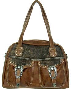 Savana Women's Faux Leather Double Pocket Handbag , Tan, hi-res