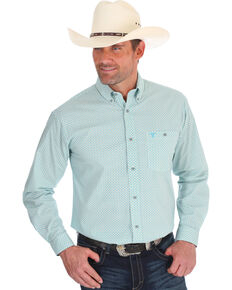 Wrangler 20X Men's Advanced Comfort Blue Geo Print Button Long Sleeve Western Shirt , Blue, hi-res