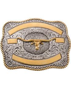 Two-tone Longhorn Belt Buckle, Silver, hi-res