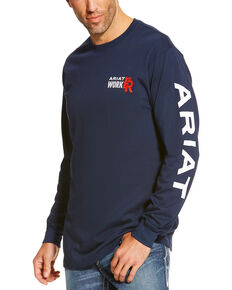Ariat Men's Navy FR Logo Crew Neck Long Sleeve Shirt - Big & Tall, Navy, hi-res