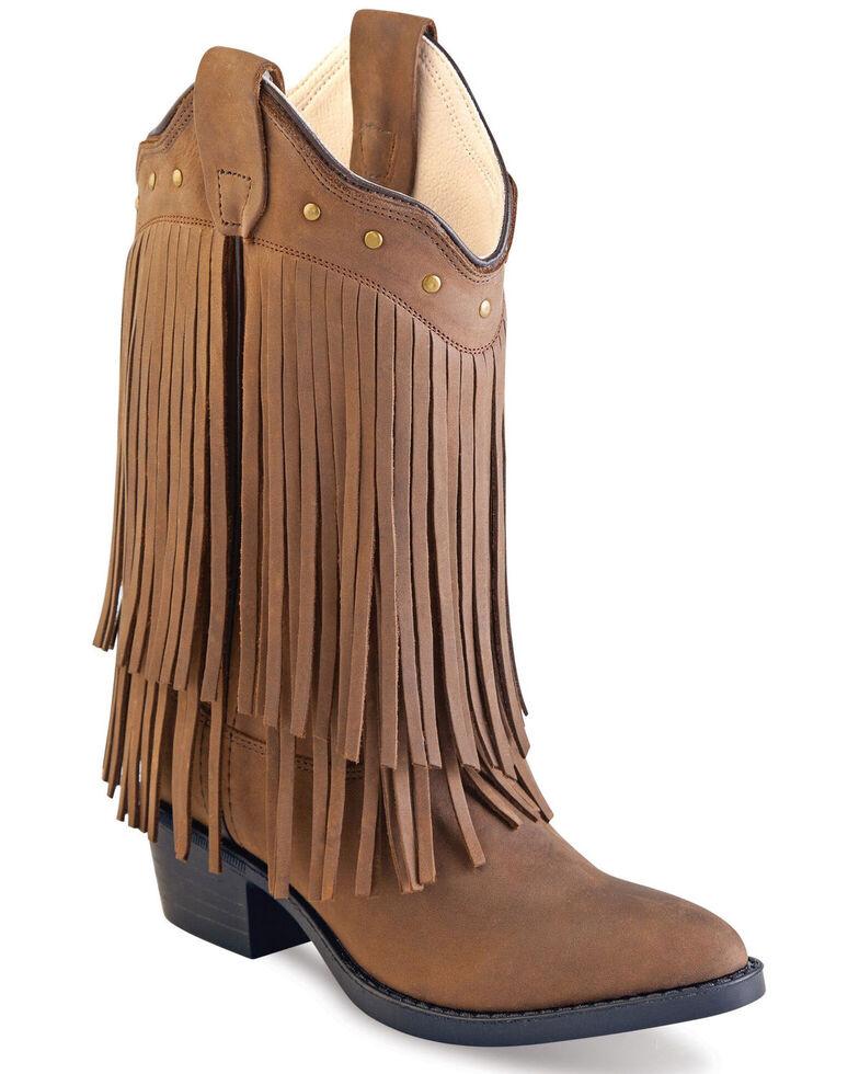 Old West Girls' Long Fringe Western Boots - Round Toe, Brown, hi-res