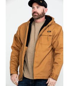 Wolverine Men's Brown Worksite Stretch Canvas Hooded Work Jacket , Brown, hi-res