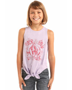 Rock & Roll Cowgirl Girls' Pink Horse Studded Graphic Tank  , Pink, hi-res