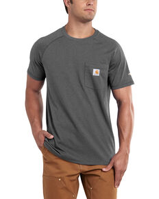 Carhartt Men's Force Cotton Short Sleeve Work Shirt - Big & Tall, Charcoal Grey, hi-res