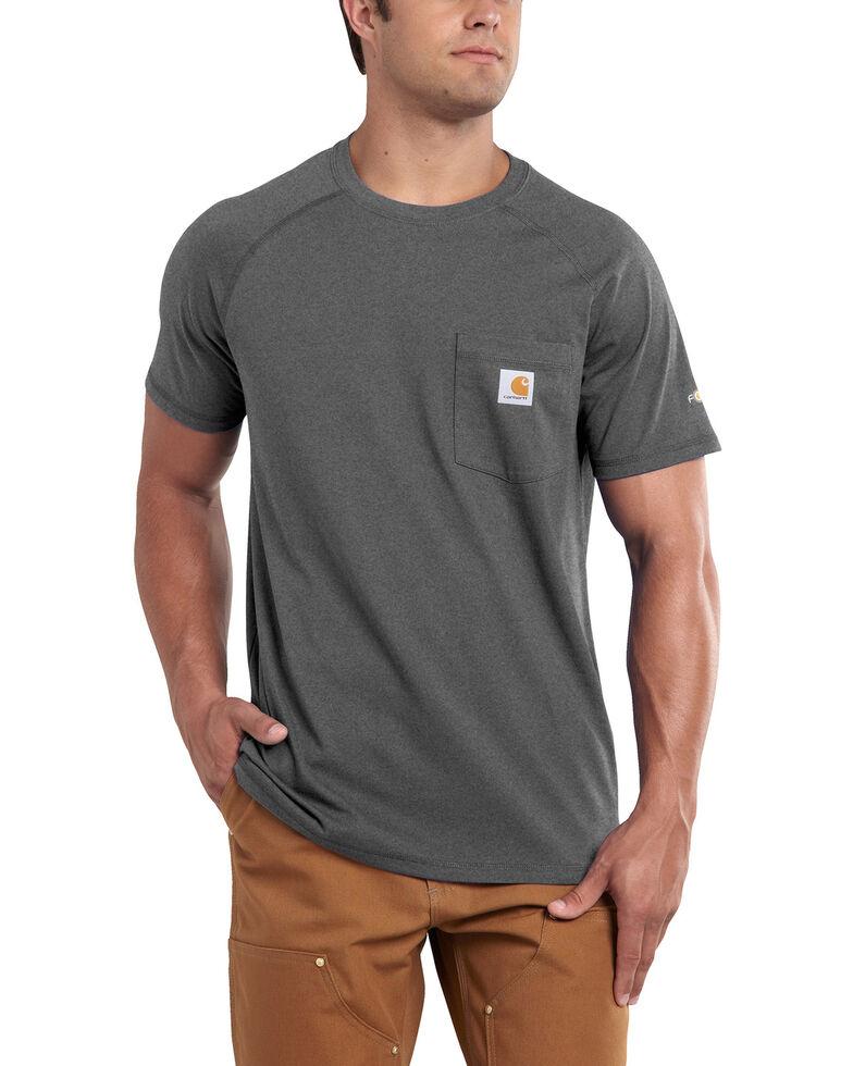 Carhartt Men's Force Cotton Short Sleeve Work Shirt - Big & Tall, Charcoal Grey, hi-res