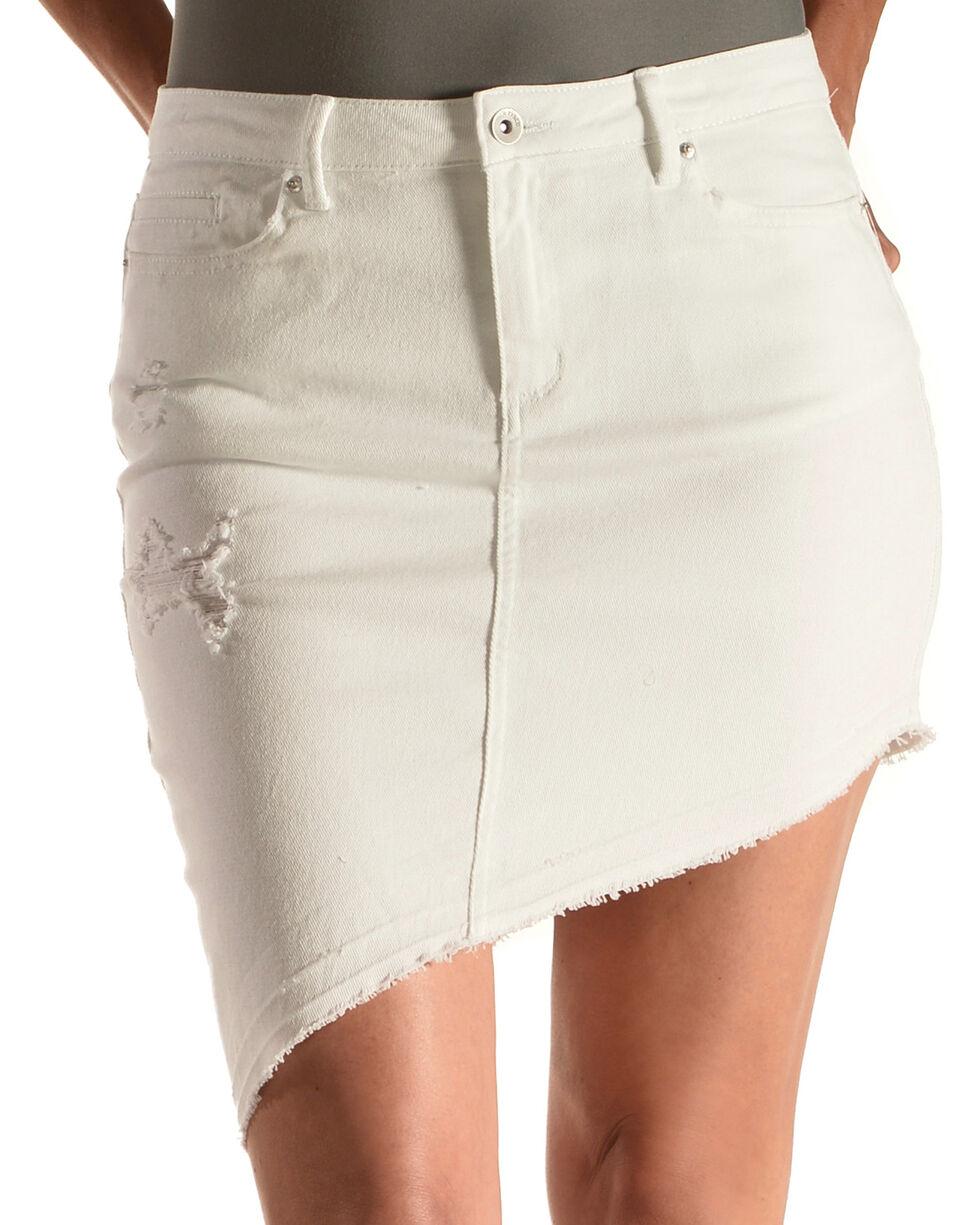 Tractr Blu Women's White Asymmetrical Denim Skirt , White, hi-res