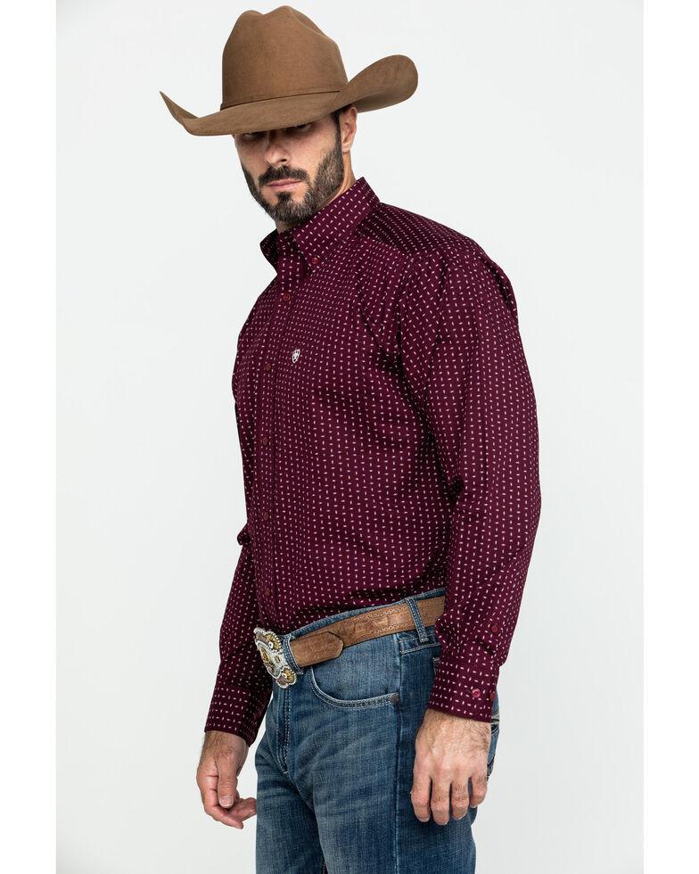 Ariat Men's Frostburg Small Geo Print Long Sleeve Western Shirt - Tall , Burgundy, hi-res