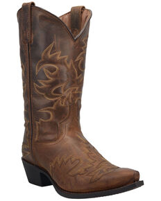 Laredo Men's Retro Fancy Western Boots - Round Toe, Brown, hi-res