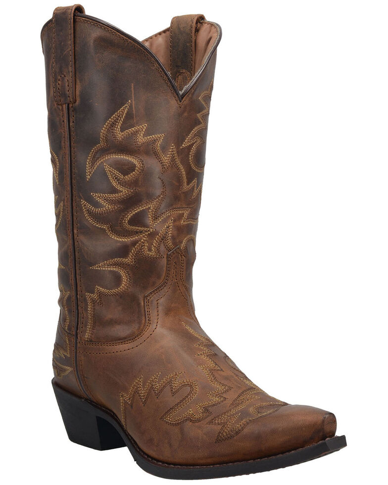 Laredo Men's Retro Fancy Western Boots - Round Toe, Brown, hi-res