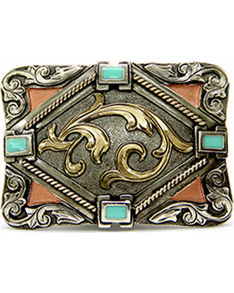 Augus Silversmiths Women's Gold Scroll with Turquoise Stone Buckle, Silver, hi-res