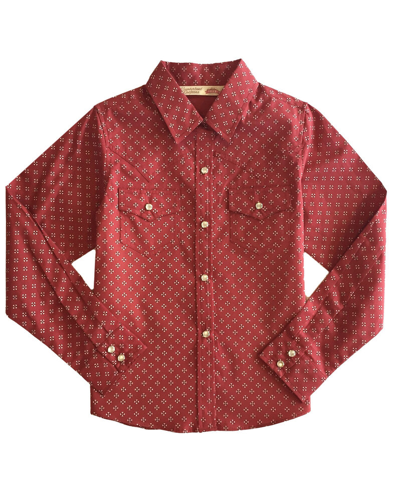 Cumberland Outfitters Girls' Mini Bandana Print Snap Long Sleeve Western Shirt, Burgundy, hi-res