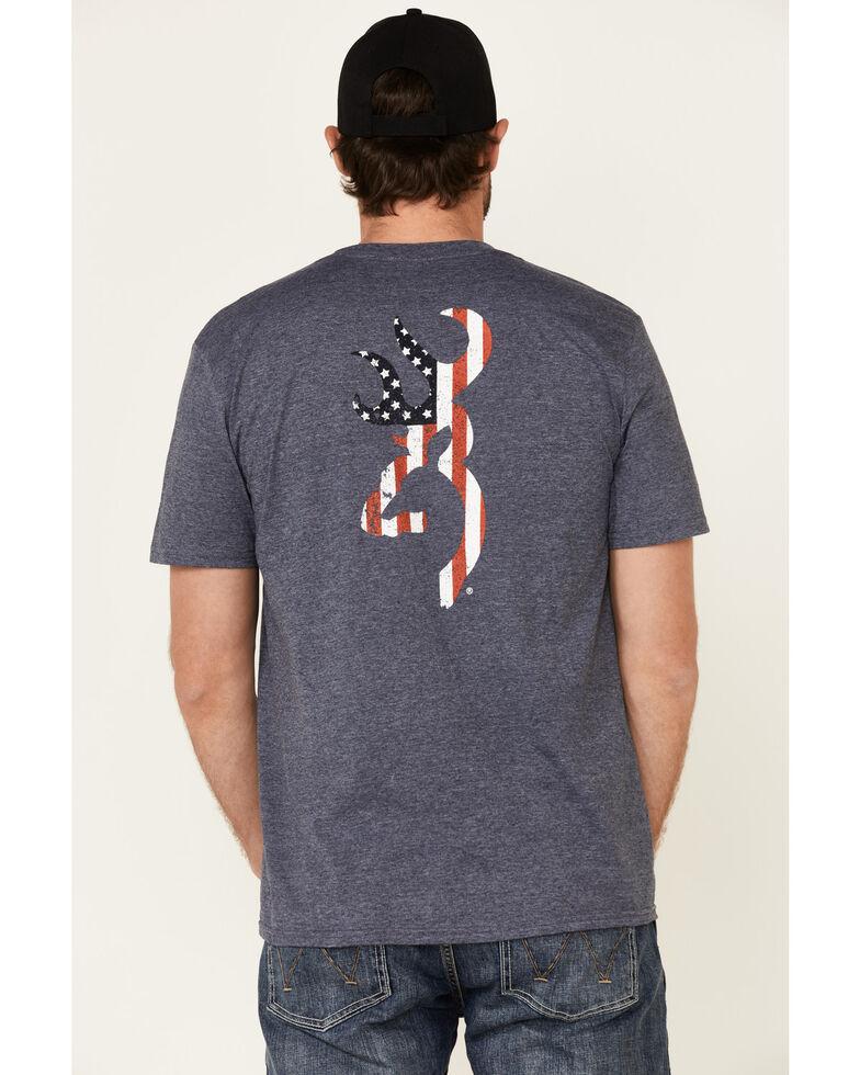 Browning Men's Grey Americana Buckmark Back Graphic Short Sleeve T-Shirt , Blue, hi-res