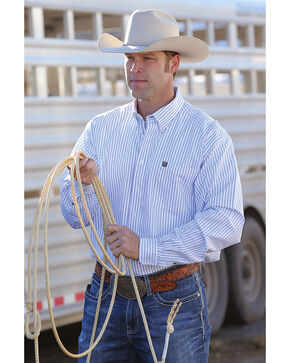 Cinch Men's Classic Fit Striped Oxford Weave Western Button Down Shirt, White, hi-res