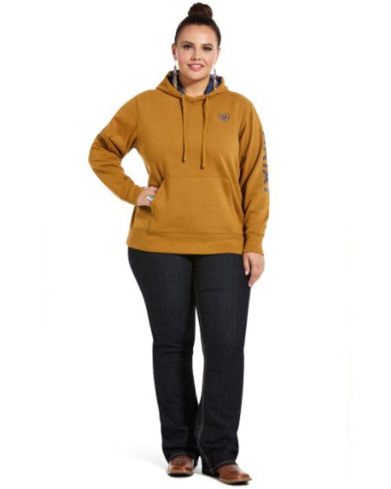 Ariat Women's Bronze Brown R.E.A.L. Arm Logo Hoodie Sweatshirt - Plus, Gold, hi-res