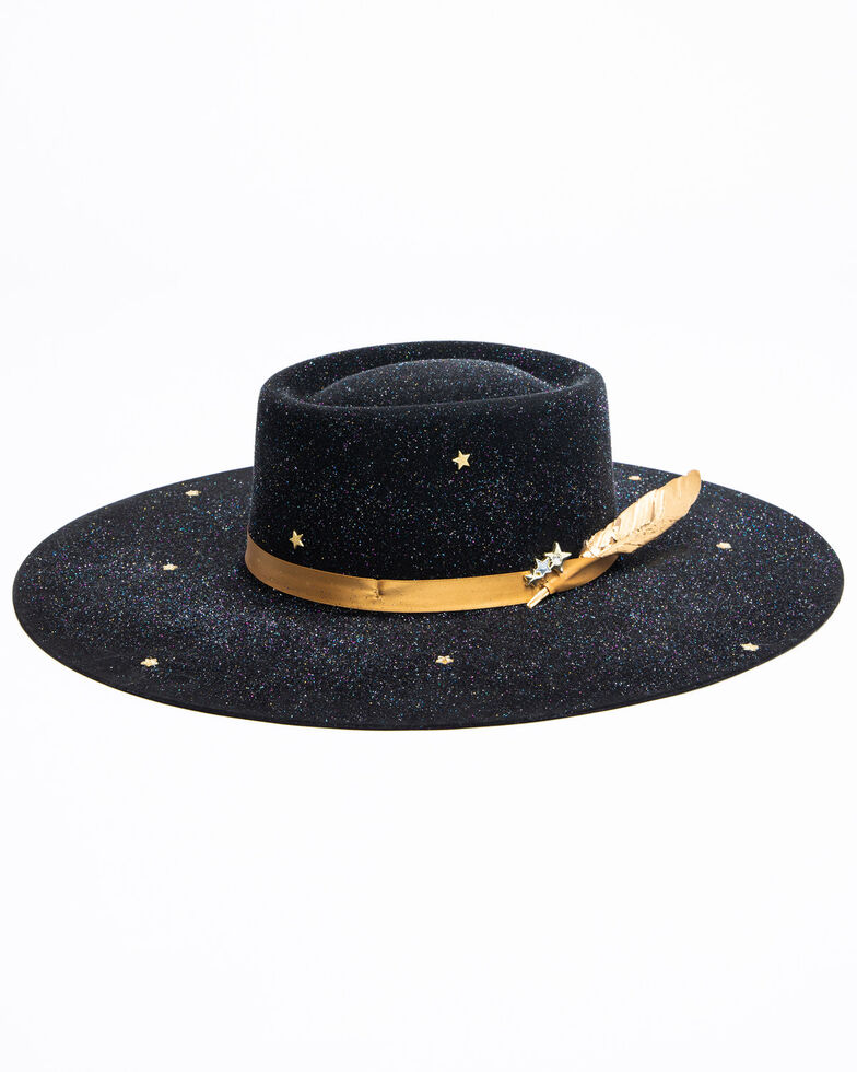 Atwood Hat Co. Women's 5X Spacey Kaycee Wool Western Hat , Black, hi-res
