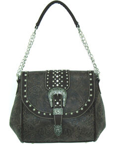 Savana Women's Faux Leather Tooled Handbag , Brown, hi-res