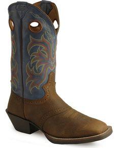 Justin Stampede Punchy Men's Cowboy Boots - Square Toe, Brown, hi-res