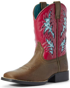Ariat Youth Girls' Homestead VentTEK Western Boots - Wide Square Toe, Brown, hi-res