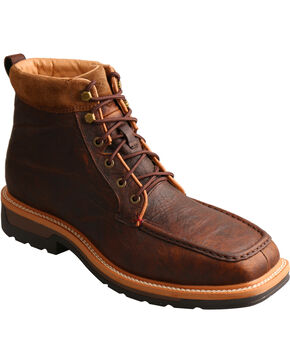 Twisted X Men's Light Work Lacer Waterproof Work Boots - Soft Toe, Dark Brown, hi-res