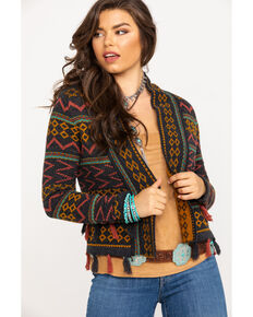 Shyanne Women's Multi-Color Aztec Cropped Cardigan, Charcoal, hi-res