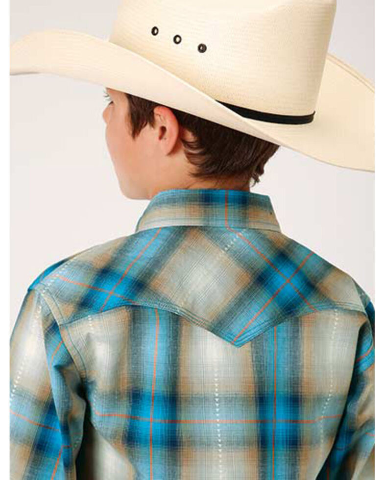 West Made Boys' Tide Pool Dobby Plaid Long Sleeve Western Shirt , Blue, hi-res