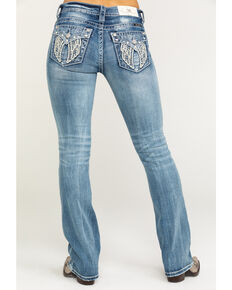 "Miss Me Women's Light Faux Flap Wing 34"" Bootcut Jeans , Blue, hi-res"