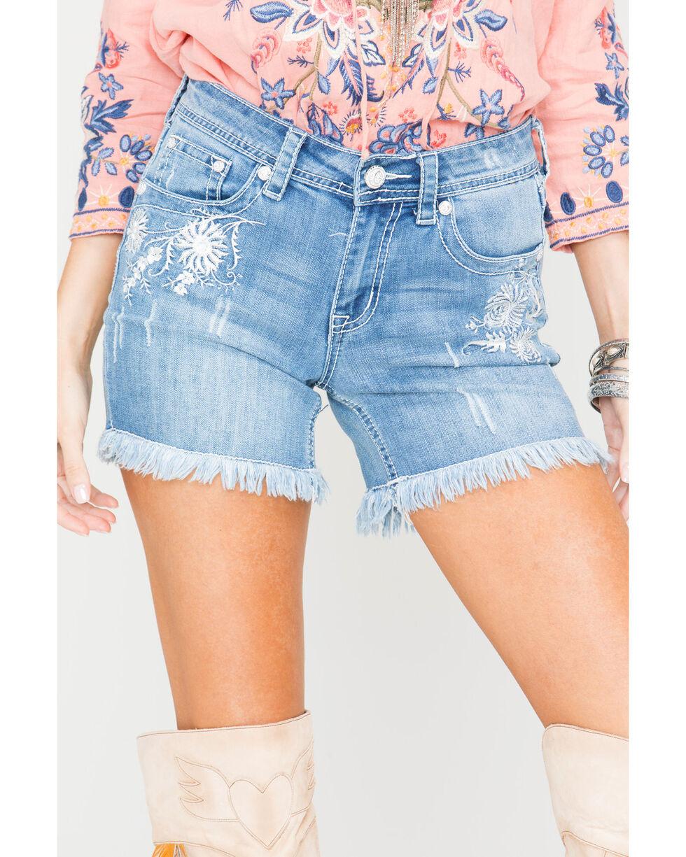 Grace in LA Women's Embroidered Raw Hem Denim Shorts, Indigo, hi-res