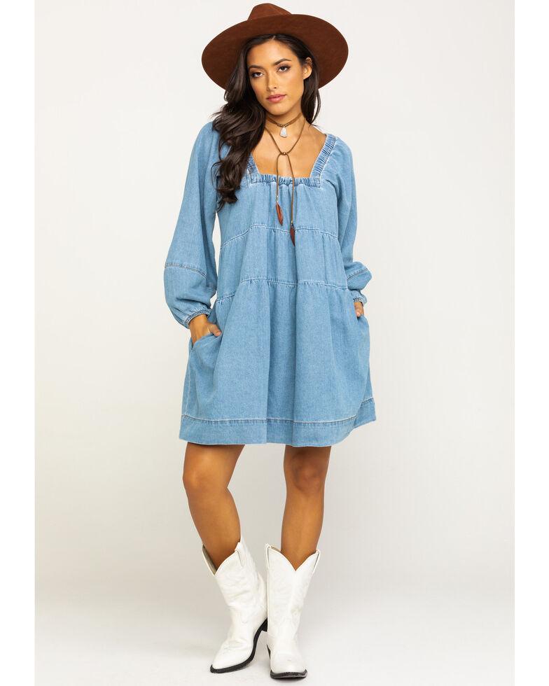 Free People Women's Denim Babydoll Dress, Blue, hi-res