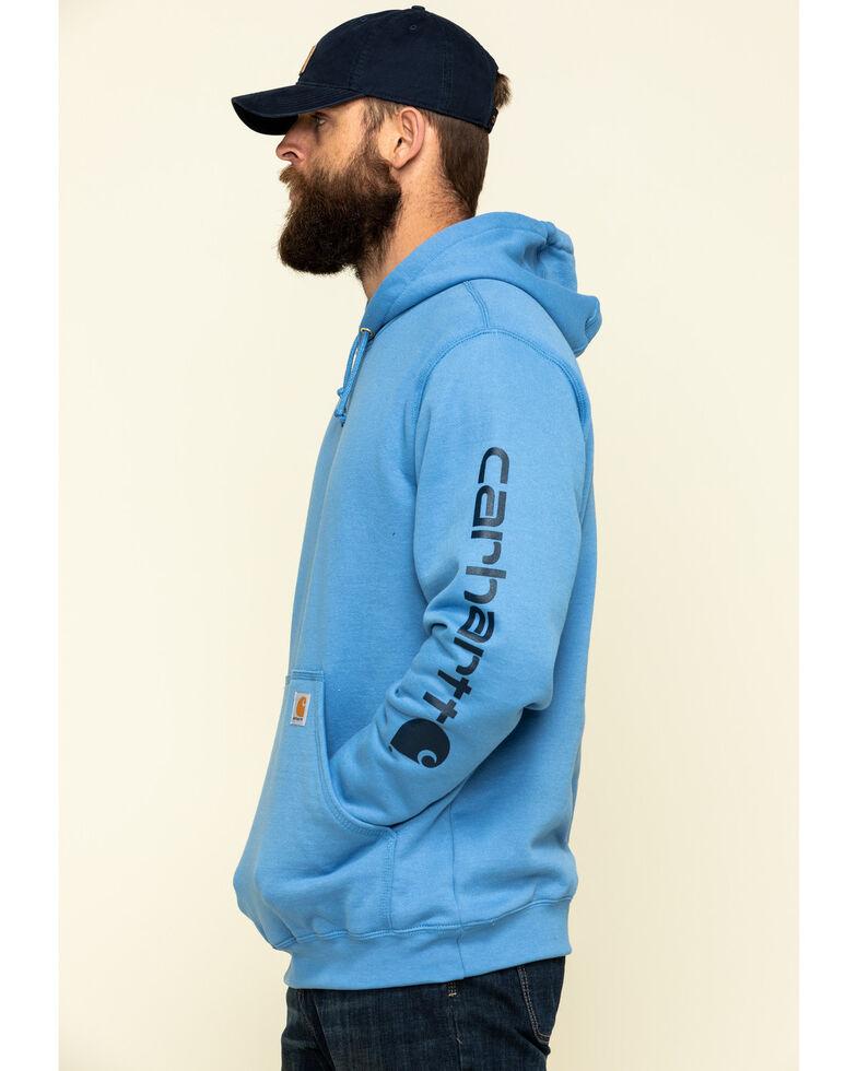 Carhartt Men's Blue Midweight Signature Sleeve Logo Hooded Work Sweatshirt - Big , Blue, hi-res