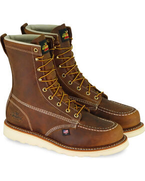 "Thorogood Men's American Heritage 8"" Wedge Work Boots - Steel Toe, Brown, hi-res"