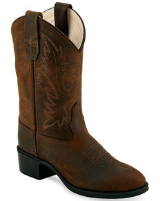 """Old West Boys' Brown 9"""" Western Boots - Round Toe, Brown, hi-res"""