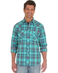 Wrangler Retro Men's Teal Plaid Long Sleeve Western Shirt - Big & Tall, Teal, hi-res