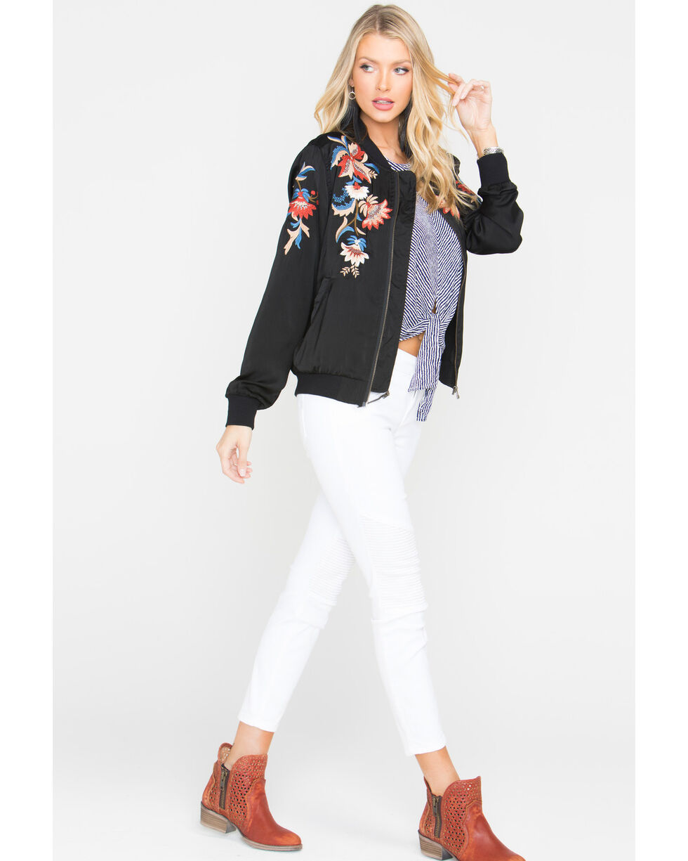 Miss Me Women's Floral Embroidered Jacket, Black, hi-res