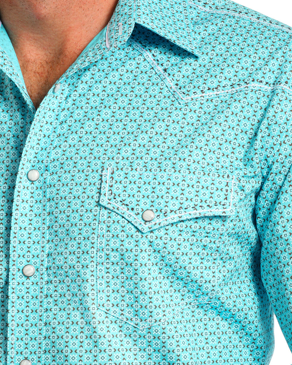 Rough Stock by Panhandle Men's Teal Printed Western Shirt , Teal, hi-res