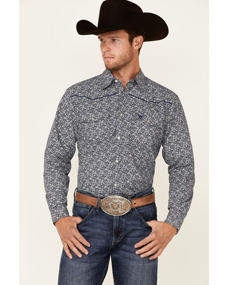 Cowboy Hardware Men's Blue Paisley Print Long Sleeve Snap Western Shirt , Blue, hi-res