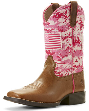 Ariat Girls' Patriot Camo Western Boots - Wide Square Toe, Sand, hi-res