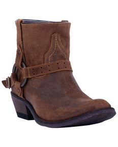 Laredo Women's Emersyn Harness Western Booties - Round Toe, Cognac, hi-res