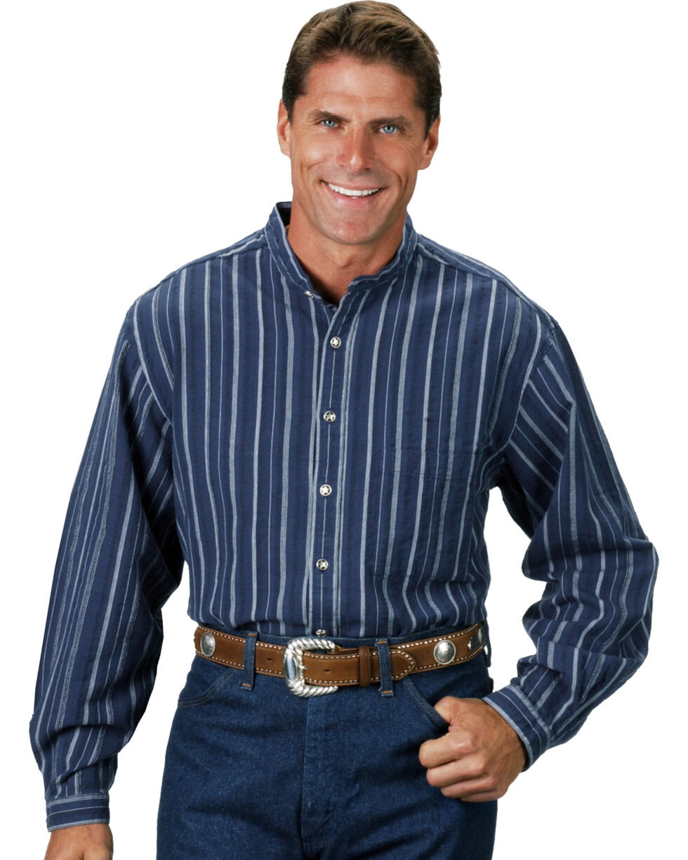 Rangewear by Scully Men's Dobby Shirt, Blue Stripe, hi-res