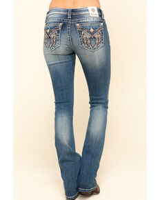 Miss Me Women's Medium Flower Studded Angel Wing Slim Bootcut Jeans, Blue, hi-res