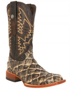 Tanner Mark Men's Rustic Fish Print Western Boots - Square Toe, Brown, hi-res