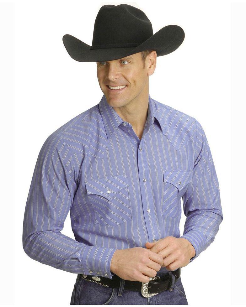Ely Cattleman Men's Plaid Assorted Long Sleeve Western Shirt, Stripe, hi-res