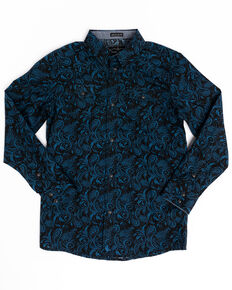 Cody James Boys' Dandelion Paisley Print Long Sleeve Western Shirt , Royal Blue, hi-res