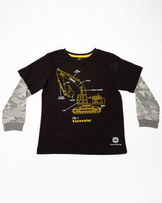 John Deere Boys' Excavator Graphic Camo Long Sleeve Shirt , Black, hi-res